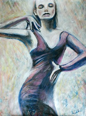 Alex Solodov; Dance, 2014, Original Painting Acrylic, 50 x 70 cm. Artwork description: 241  Original acrylic painting in impressionistic pop art style. Portrayed of a young woman dancing. Inspired by fashion photography. Acrylic and oil pastel on archival fine art paper. Signed by the artist on the front. Artist - Alex Solodov mostly paints in sumi- e and color ink wash painting ...