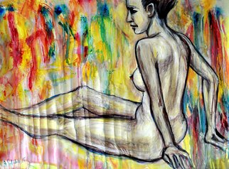 Alex Solodov; Nude Model Sitting, 2015, Original Watercolor, 70 x 50 cm. Artwork description: 241  erotic acrylic and water- colour painting portrayed nude model on abstract background. In expressionism style. ...