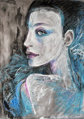 Alex Solodov, Original oil pastel paintin..., 2014, Original Pastel Oil, size_width{Original_oil_pastel_painting_Model_in_Blue-1415713813.jpg} X 58 cm