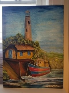 Maria Condino; Lighthouse Fortaleza Brazil, 2018, Original Other, 18 x 24 inches. Artwork description: 241 northeast brazil lighhouse, oil painting...