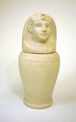 Alice Buttress; Egyptian Jar, 2001, Original Sculpture Ceramic, 4 x 9 inches. Artwork description: 241 Egyptian Pharaoh Canopc Jar. Handthrown and sculpted in stoneware clay. High fired unglazed....