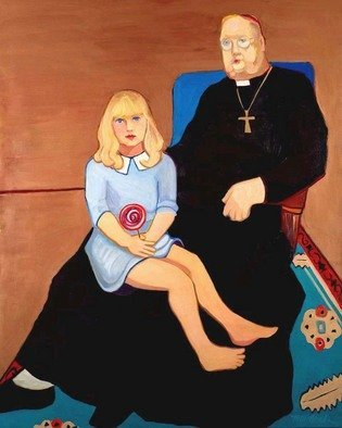 Alice Murdoch; Angel, 2011, Original Painting Oil, 48 x 62 inches. Artwork description: 241     Girl on Priest's lap with lollipop                               ...