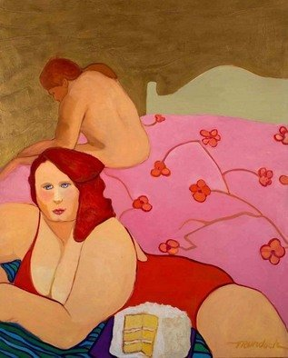 Alice Murdoch; COCONUT CAKE, 2011, Original Painting Oil, 48 x 62 inches. Artwork description: 241      Woman in bed with coconut cake                                ...