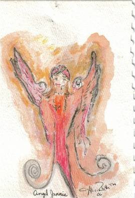 Alicia Steffes; Angel 1, 2010, Original Watercolor, 0.7 x 0.7 inches.