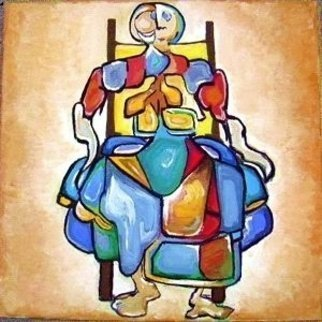 Madalina  Bita; The Great Lady, 2006, Original Painting Tempera, 40 x 40 cm. Artwork description: 241  tempera on canvas abstracted cubist shapes ...
