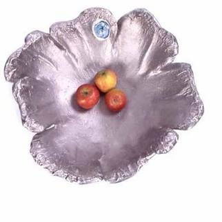 David Raine; Cast Stainless Steel Bowl, 2004, Original Sculpture Steel, 50 x 20 cm. Artwork description: 241 Rough cast stainless steel bowl of sculptural petals, rings like a bell.  Inserted with fused glass and silk. ...