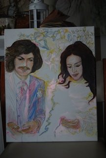Alkistis Wechsler; Bettina And Sebastian, 2017, Original Painting Oil, 40 x 50 cm. Artwork description: 241 oil on canvas. based on a wedding photo in the late sixties. ...
