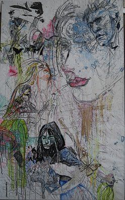 Alkistis Wechsler; Friends, 2016, Original Painting Oil, 96 x 160 inches. Artwork description: 241  oil painting and crayon on canvas. ...