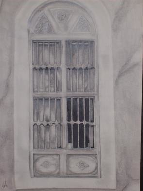 Mamoon Allaf; The Window, 2010, Original Drawing Pencil, 11 x 14 inches.
