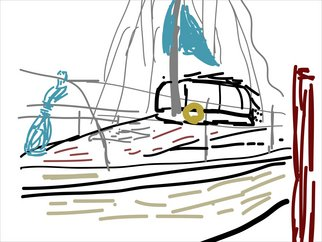 Allyn Conway; At The Dock, 2010, Original Digital Art, 28 x 22 inches. Artwork description: 241  Inspired by my friend's boat.  We went sailing on it the summer of 2010  ...