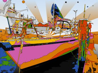 Allyn Conway; Magical Sailer, 2011, Original Digital Art, 28 x 19 inches. Artwork description: 241  A magical sailing trip!  all aboard! !    ...