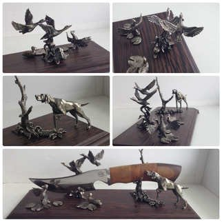 Aleksey Martemjanov; duck hunting, 2016, Original Sculpture Mixed, 300 x 150 mm. Artwork description: 241 Table stand for a hunting knife...