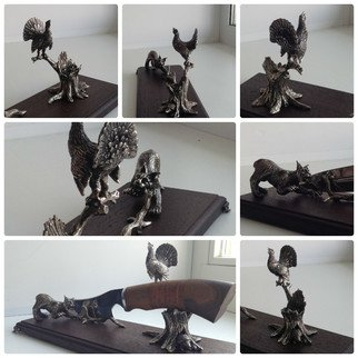 Aleksey Martemjanov; lynx and wood grouse, 2017, Original Sculpture Mixed, 300 x 150 mm. Artwork description: 241 Table stand for hunting knives Lynx and wood grouse. ...