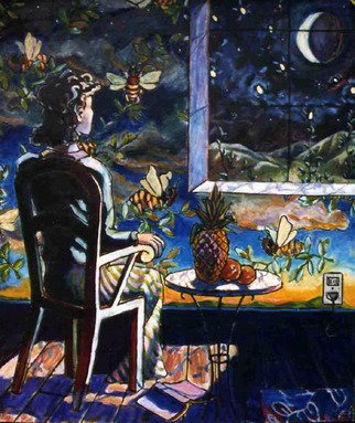 Tyler Alpern; Barbarini Pineapple, 2008, Original Painting Oil, 48 x 58 inches. Artwork description: 241  Woman gazing at the moonlight thru a window on a wall covered with fantastic tromp l'oeil wallpaper. ...