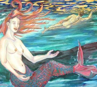 Tyler Alpern; Mermaid, 2004, Original Painting Oil, 48 x 42 inches. Artwork description: 241 Mermaid and nude swimmer in an exotic lake.  Light filters down from above...