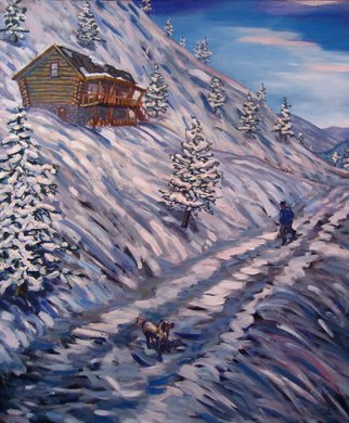 Tyler Alpern; Snowy Drive, 2014, Original Painting Oil, 42 x 48 inches. Artwork description: 241  Snow, cabin, colorado, dog, mountians, landscape, brushstrokes. ...