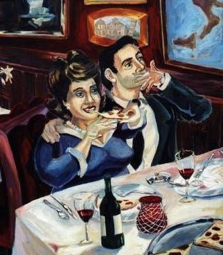 Tyler Alpern; They Call It Bella Notte, 2004, Original Painting Oil, 42 x 48 inches. Artwork description: 241 I think that this painting is about sex without being graphic,  the evening is not yet over.  Couple eating in an Italian restaurant.   There are wine, pizza, candles.  She is large and enjoying her meal, he is finished and smoking.  You can see the waiter in the ...