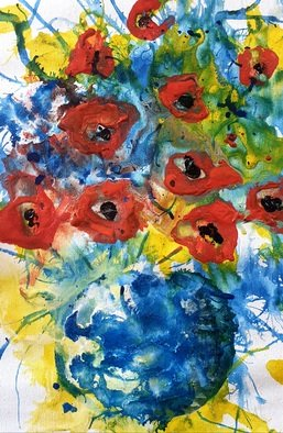 Altin Frasheri; Flower, 2020, Original Painting Acrylic, 25 x 37 cm. Artwork description: 241 The work is done without a brush, simply by blowing the paint.  Very spiritual ...