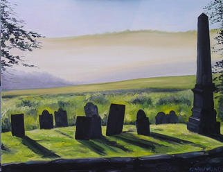 Eleanor Hartwell; Duhallow Sunrise, 2003, Original Painting Oil, 32 x 24 inches. Artwork description: 241 misty morning cemetery mountain...