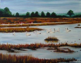 Eleanor Hartwell; Trumpeters, 2003, Original Painting Oil, 32 x 24 inches. Artwork description: 241 rumpeter swans on the Carolina coastal waterway. . . . . . . ...