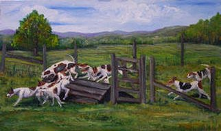 Eleanor Hartwell; Up And Over, 2003, Original Painting Oil, 24 x 18 inches. Artwork description: 241 hounds hunting ...