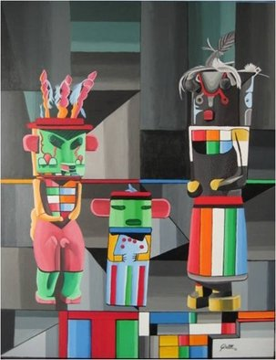 Sergio Roffe; KACHINA DOLLS, 2011, Original Painting Acrylic, 70 x 90 cm. Artwork description: 241  FIGURATIVE/ GEOMETRIC ABSTRACT    ...