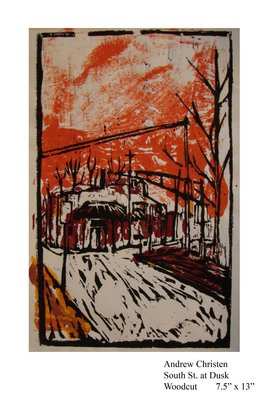 Andrew Christen; South St, 2003, Original Printmaking Woodcut, 8 x 13 inches.
