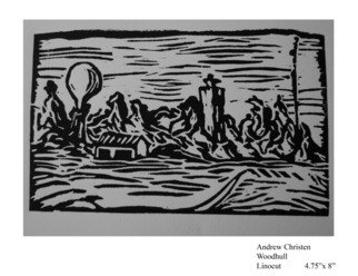 Andrew Christen; Woodhull, 2006, Original Printmaking Linoleum - Open Edition, 5 x 8 inches.