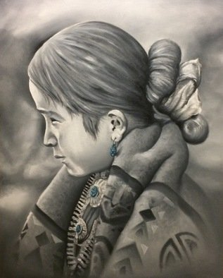 Angelo Lovato; Little Navajo Girl, 2017, Original Painting Oil, 24 x 36 inches.