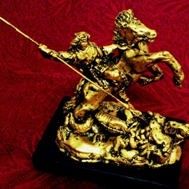 Angel Piangelo Papangelou, , , Original Sculpture Mixed, size_width{BEAST_WARRIOR_Gold_22k-1543604621.jpg} X 16 cm