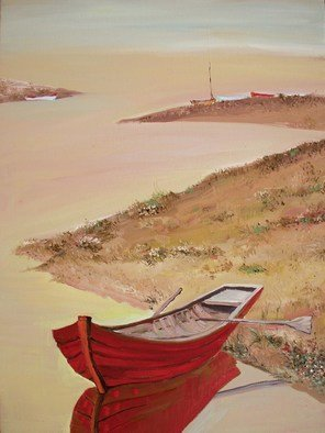 Animesh Roy; Red Boat And River, 2009, Original Painting Oil, 28 x 38 inches. Artwork description: 241  Red Boat and River38x28 inches96. 5x71cmOil on CanvasOct 2009 ...