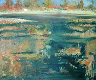 Animesh Roy; River Banks And Marshes 2, 2009, Original Painting Oil, 36 x 30 inches. Artwork description: 241  abstraact landscape, oil painting, knife work, impasto, ...