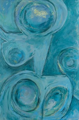 Andrea Mulcahy; Woman In Teal, 2013, Original Painting Acrylic, 24 x 36 inches.