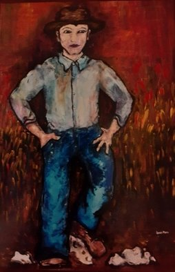 Anna-Marie Lopez; Farmer Dad, 2001, Original Painting Acrylic, 24 x 38 inches. Artwork description: 241 Dad Farmer to AF Officer...