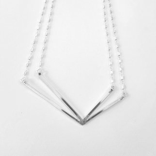 Anna Mcfalls; Geometric Necklace, 2020, Original Jewelry, 3.2 x 1.5 inches. Artwork description: 241 Geometric sterling silver necklace with sterling silver tube chain soldered polished and assembled ...