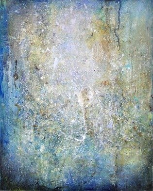 Anne Schwartz; 162 First Dawn, 2011, Original Mosaic, 20 x 30 inches. Artwork description: 241  Blue, space, textured, contemporary, light, movement, gold, silver, abstract, contemporary, light green, white, light brown, pattern ...
