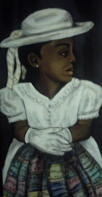 Nelson-Matheson Annette; Little Lady, 2009, Original Painting Oil, 12 x 24 inches. Artwork description: 241  Oil on canvas of a little girl waiting to go to church holding her quilt/ blanket. ...