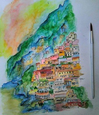 Anushka Bansal; Cinque Terre Italy, 2019, Original Watercolor, 26 x 32 cm. Artwork description: 241 Watercolor painting of the most colorful landmark in Italy.White thick framed   not included in the size given  ...