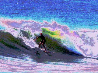 Anthony J. Loria; Riding The Surf, 2011, Original Digital Art, 11 x 14 inches. Artwork description: 241  This photo was digitally designed for pop art.  It was taken at the 2011 Surf Competition in Long Beach, NY.  The photo was digitally altered to display a pop art illusion for surfer enthusiast and all others to enjoy. ...