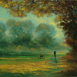 Antoniu Marjai, , , Original Painting Oil, size_width{Rain_in_the_park-1309438448.jpg} X 40 cm