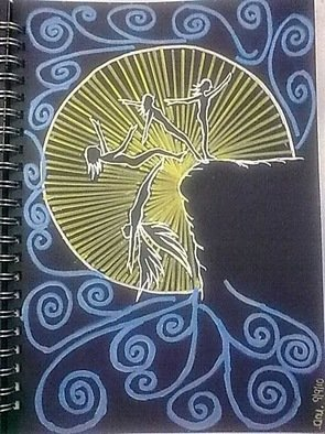 Anuradha Chandran Menon; Leap Of Faith, 2010, Original Painting Ink, 15 x 21 cm. Artwork description: 241  Artwork is inspired by Faith, Angels and Light. ...