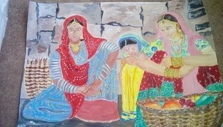 Anuradha Swaminathan, Indian vegetable sellers, 2017, Original Painting Acrylic, size_width{indian_vegetable_sellers-1488316424.jpg} X 33.5 x  inches