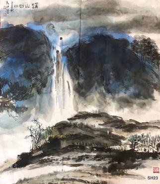 Chongwu Ao; Sh 23 Gorge Estuary, 2019, Original Painting Ink, 59 x 68 cm. Artwork description: 241 Original Abstract Ink Painting On The Rice Paper. Freedom your true feelings is the portrayal of my artworks. It shows Asian cultural elements and humanistic spirit and is magnificent, open, natural, and has no limit. ...