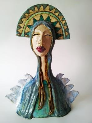 Agnieszka Parys Kozak; Beauty Of A Mother, 2010, Original Sculpture Ceramic, 39 x 51 cm. Artwork description: 241  goddess, mother, beauty, angel, ceramics, woman, portrait ...