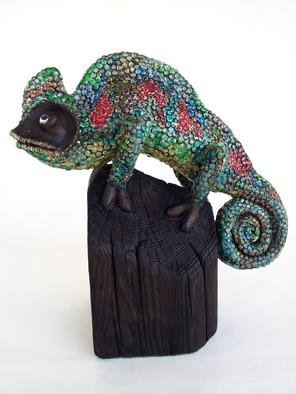 Agnieszka Parys Kozak; Can You See Me, 2013, Original Sculpture Ceramic, 19 x 39 cm. Artwork description: 241  animals, ceramics, chameleon, colorful, nature, figure ...