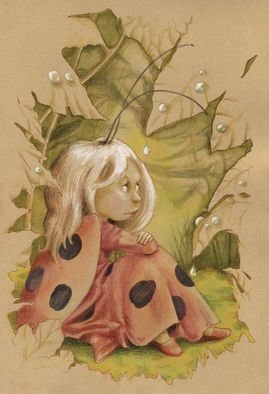 Joanna Pasek; Ladybug Fairy, 2013, Original Drawing Pencil, 17 x 25 cm. Artwork description: 241  Crayons and ink on beige paper 200g. Original artwork. Signed and dated on the back side. ...