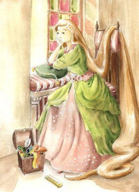 Joanna Pasek; Rapunzel, 2013, Original Watercolor, 17 x 23 cm. Artwork description: 241  Illustration to Grimm brothers fairytale. Brunnen watercolor paper 250g. Original artwork. Signed and dated on the back side.  ...