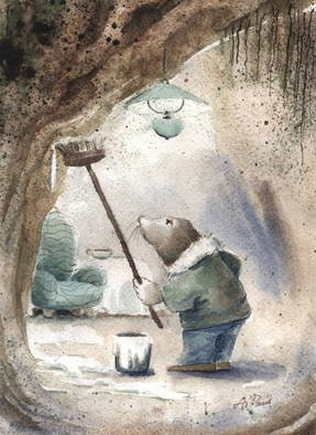 Joanna Pasek; The Mole, 2013, Original Watercolor, 16 x 21 cm. Artwork description: 241  The first scene from' The Wind In The Willows' : the mole is cleaning his underground house.           ...
