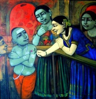 Pramod Apet; Little Love, 2010, Original Painting Acrylic, 48 x 48 inches. Artwork description: 241             indian, child, music, figeretiv , love, boy, girl, smil, dream, smil, love, moon, music, party, world, game           ...