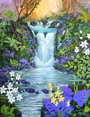 Environmental Artist Apollo; here in heaven, 2014, Original Painting Acrylic, 30 x 40 inches. Artwork description: 241 a heavenly waterfall invites the viewer to enter this magical realm of beauty and light. ...